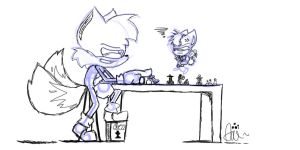 Collab: Tails and Chip Play Chess by Wolfiisaur