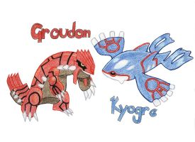 Groudon vs Kyogre Showdown by SmokingFlame
