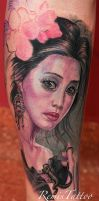 realistic portrait tattoo girl with lizard by Remistattoo