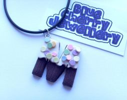 M Cupcake Letter Necklace by tyney123