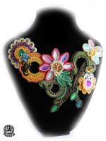 Spring Soutache necklace by caricatalia