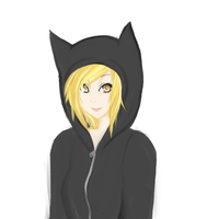 Random girl in a cat hoodie by MondayLove