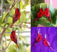 Cardinal Earrings by TrollGirl