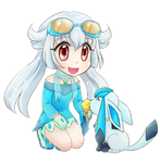 Mirai and Glaceon- commission by chikorita85