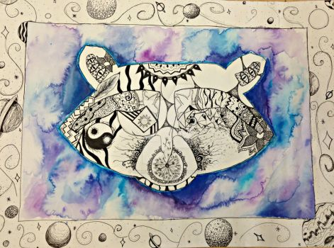 Watercolor Racoon Zentangle by ChristieLee123