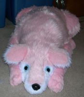Big pink wolf plush by Bladespark