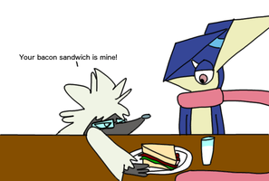 Ren attempts to steal a bacon sandwich by laopokia