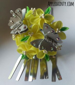 Canola and Silver Butterfly Kanzashi Hair Fork by AppleDainty