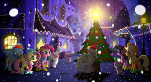 The First Snow - MLP Mane 6 Christmas Wallpaper by allwat