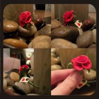 Mini Polymer Clay Rose by squeesqueak