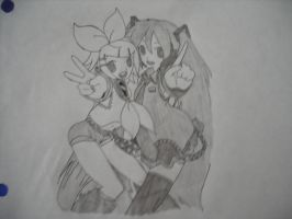 Kagamine Rin 02 and Hatsune Miku 01 (Shaded) by SapphireRose-chan