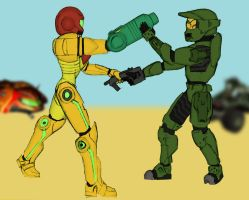 Samus Aran vs Master Chief by 310