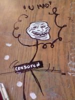 -TrollFace in my Table- by NathyLove5