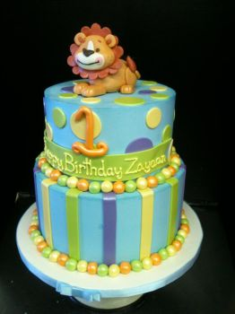 Two Tiered Buttercream Lion Cake by Spudnuts