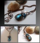 Element Of Water- wire wrapped copper necklace by mea00