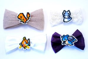 Pokemon Cross Stitched Bows by LittleSymmetry