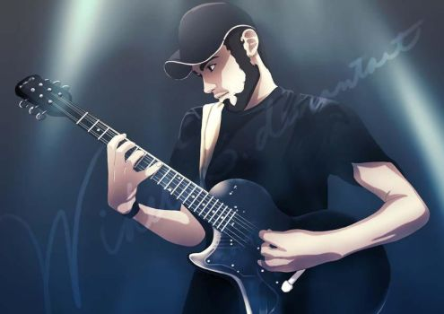 Ander and his guitar by Widelia
