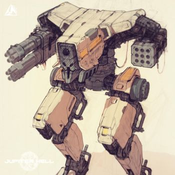 Jupiter Hell - Security Mech sneak peek by EwaLabak