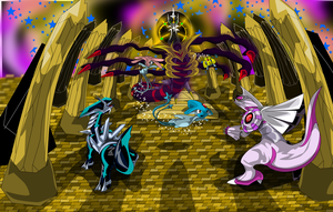 Dialga vs. Giratina vs. Palkia by juming5