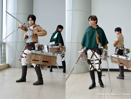 Shingeki no Kyojin - Eren Jaeger and Levi Ackerman by karlonne