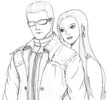 Wesker and Excella by Renezinha