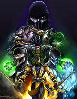 MK Ninjas Color Version - Line Art by DJOK3 by CrescentDebris