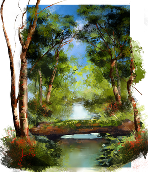 Bob Ross: River carving Forest by theWinkWonk