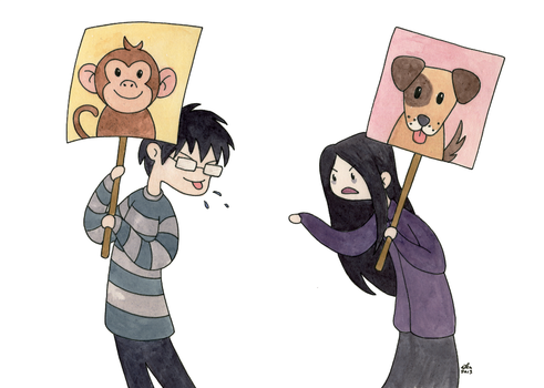 Dogs and Monkeys on Placards by FairyKitsch