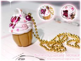 Butterfly Cupcake necklace by Fluffntuff