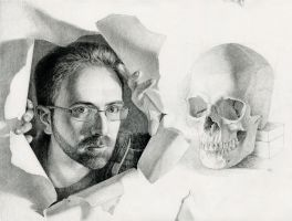 Self-Portrait with Skull by primaryhughes