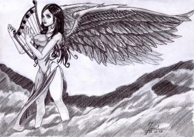 angel whit harpa by blueboy777