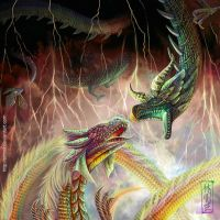 FOR SALE! Dragons fight by art-adoption