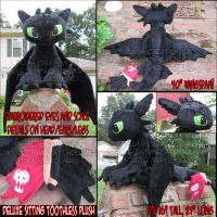Deluxe Sitting Toothless Plush by StudioNeko