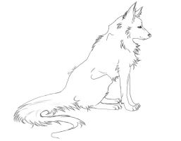 Wolf lineart by Miu-Nebit
