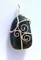 Reversible Wire Wrapped Bloodstone Pendant by FaerieForgeDesign