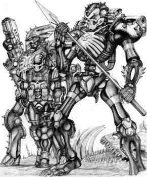 Skelebot Operator and Skeleborgs - quarter gray by ChuckWalton