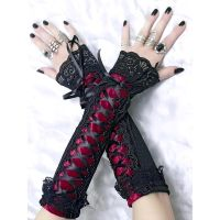 long fingerless gloves, arm warmers in gothic by Eusebie