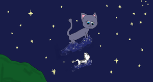 Bluestar and Mosskit at Starclan OLD by Dawnfire2025
