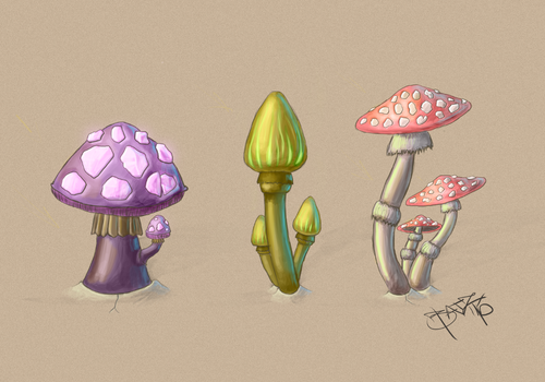 Mushrooms - Concept  art by BatzStudio