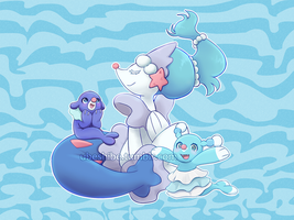 Alolan Water Starter Stickers by ubeshibe