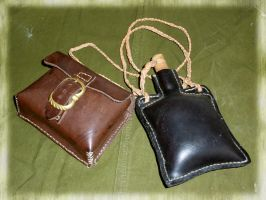 Leather pouch and bottle by Squirrel-slayer