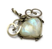 Wire Wrapped Pendant with Rainbow Moonstone by hyppiechic