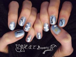 Nail Art Dragonfly and clouds by Kythana