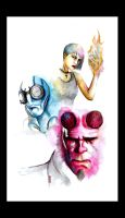 Hellboy Ink -colour- by AreYoU