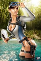 Lara Croft Wetsuit Commission by Jeffach
