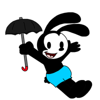 Oswald flying with a Umbrella by SuperMarcosLucky96