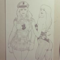 Lady Blackhawk and Black Canary by kaloy-costa