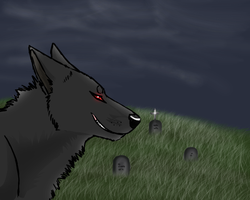 Wolf at the cemetery by Rakrawolf