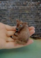 Miniature Brown Calf * Handmade Sculpture * by ReveMiniatures