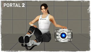 Chell and Wheatley by jagged66